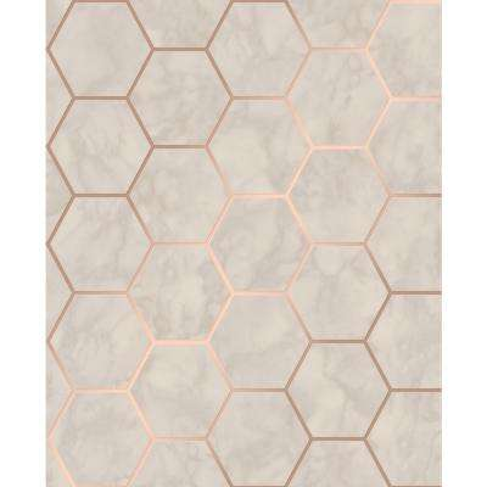 Margaret Beige Marble Hexagon Wallpaper Sample