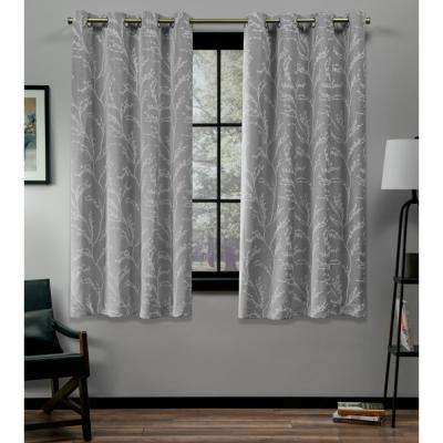Kilberry 52 in. W x 63 in. L Woven Blackout Grommet Top Curtain Panel in Ash Grey (2 Panels)