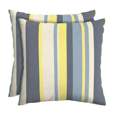 CushionGuard Yellow Jumbo Stripe Square Outdoor Throw Pillow (2-Pack)
