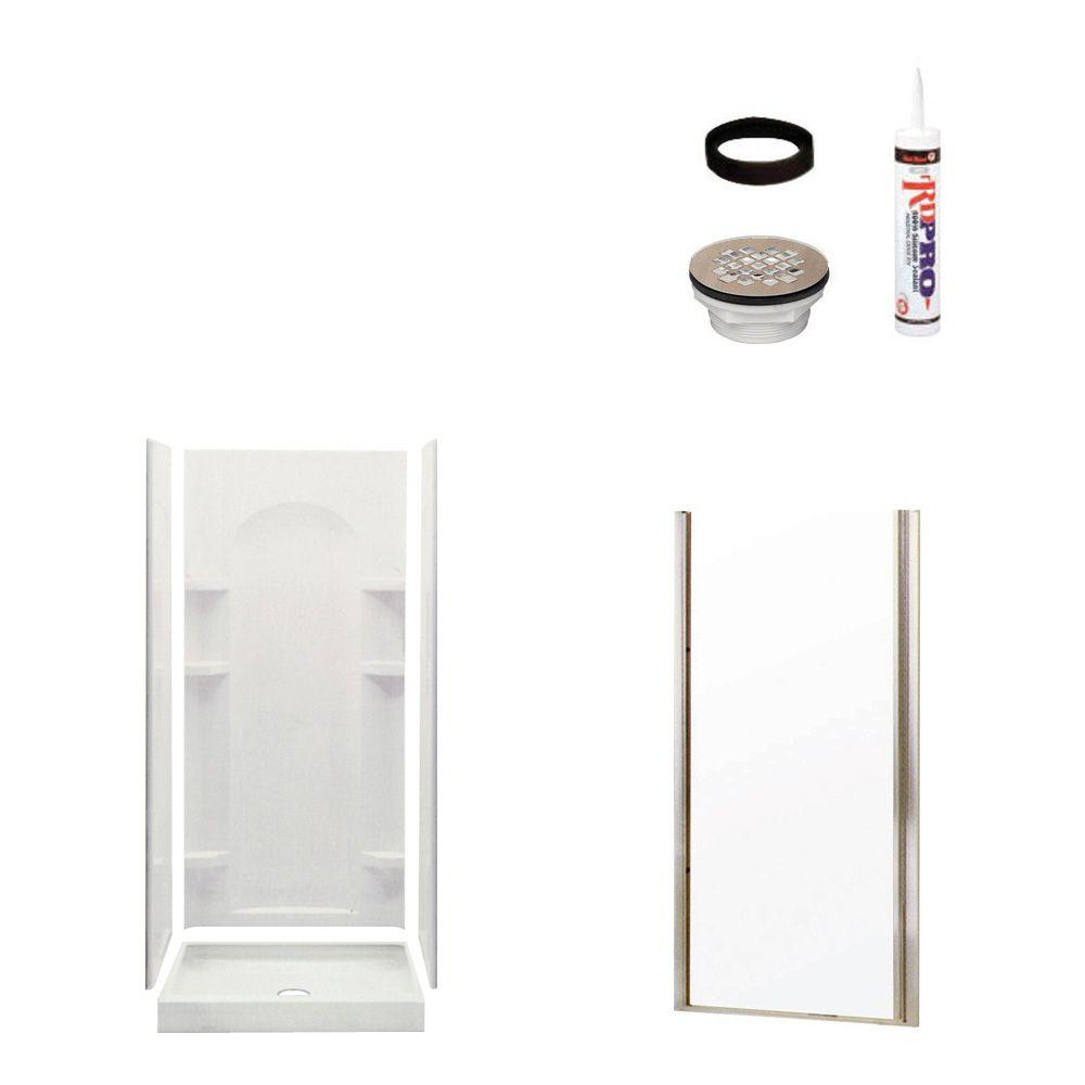 STERLING Ensemble Curve 34 in. x 36 in. x 75-3/4 in. Shower Kit with Shower Door in White/Nickel