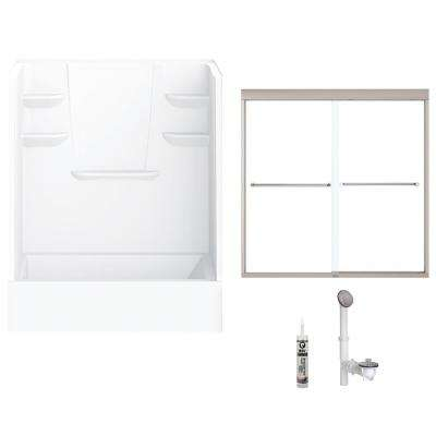60 in. x 30 in. x 79 in. Bath and Shower Kit with Left-Hand Drain and Door in White and Brushed Nickel Hardware