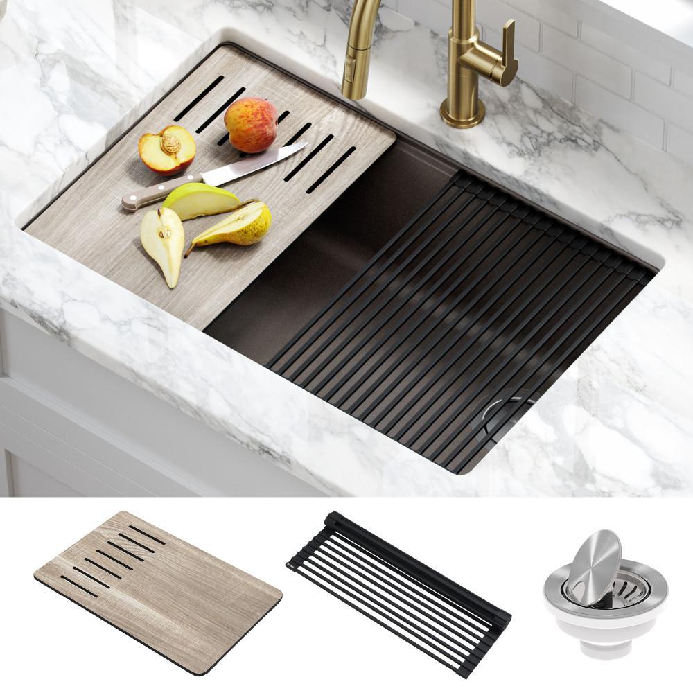 Bellucci Brown Granite Composite 29 in. Single Bowl Undermount Workstation Kitchen Sink with Accessories