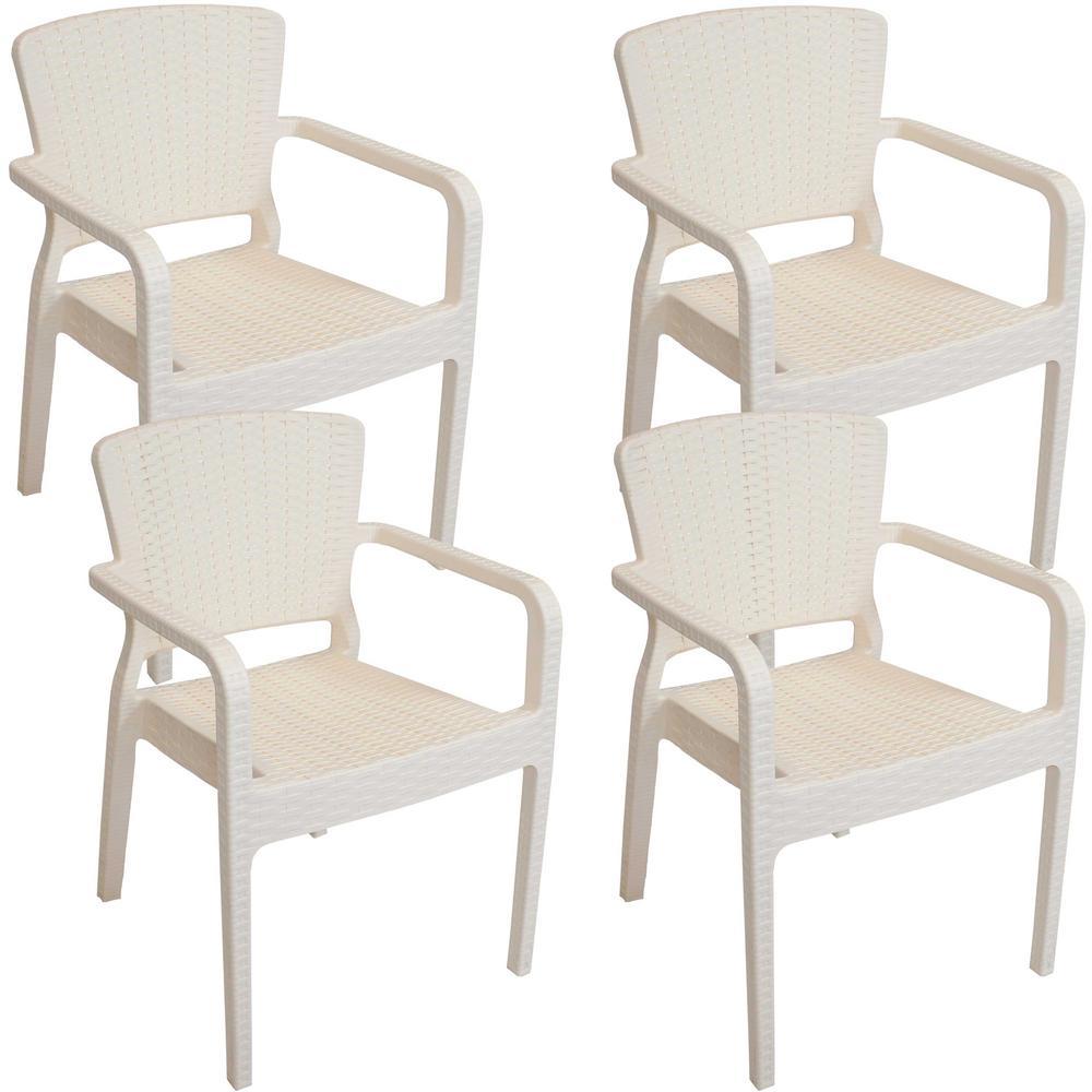Segonia Cream Stacking Plastic Indoor/Outdoor Armchair (Set of 4)