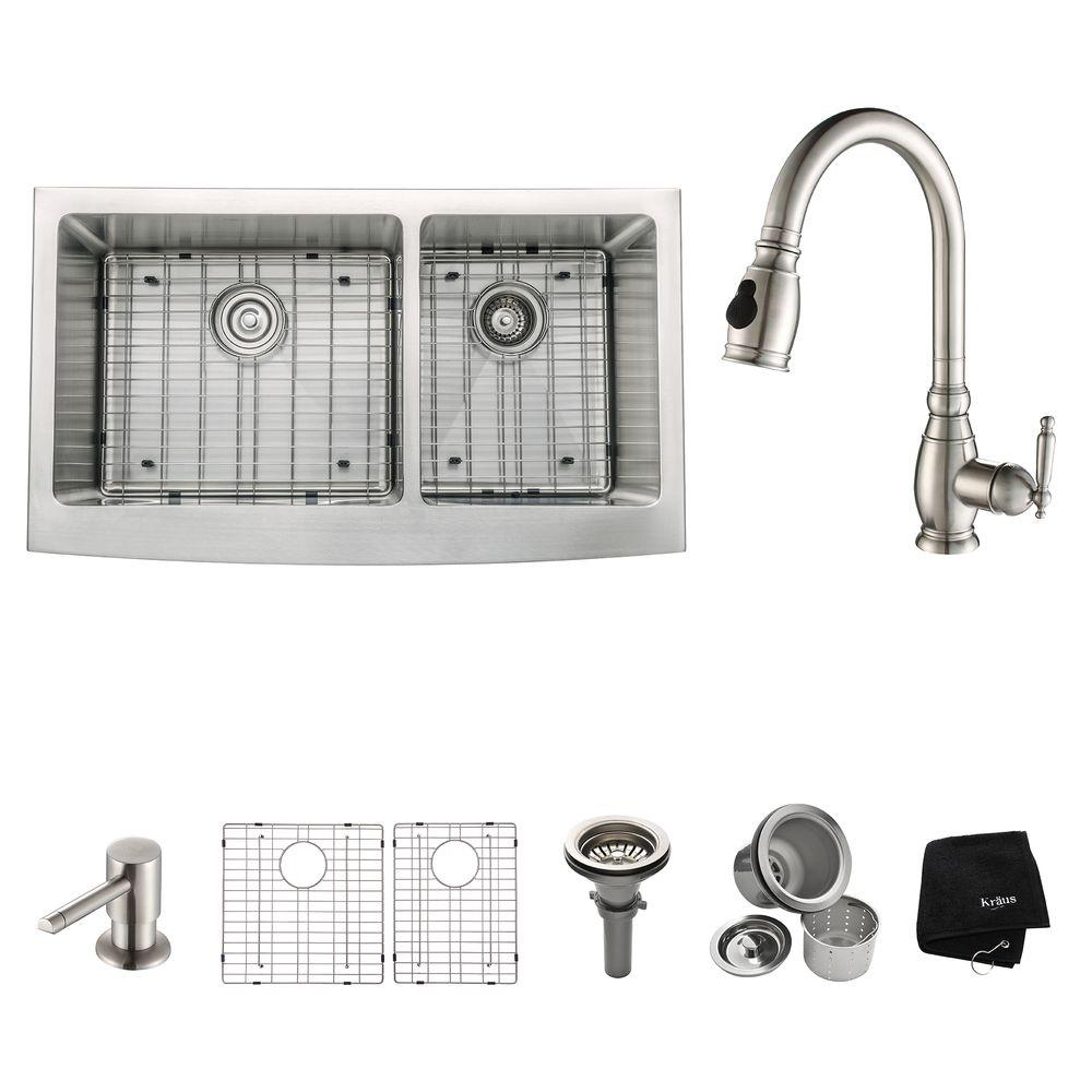 KRAUS All-in-One Farmhouse Apron Front Stainless Steel 36 in. Double Bowl Kitchen Sink with Faucet in Stainless Steel