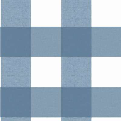 Amos Blue Gingham Strippable Roll (Covers 56.4 sq. ft.)