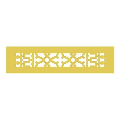 Scroll Series 12 in. x 2-1/4 in. Brass Grille, Brass without Mounting Holes