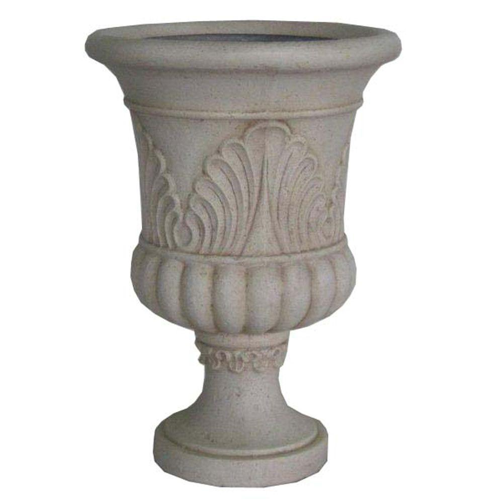 20 in. x 28 in. Cast Stone French Urn in Aged