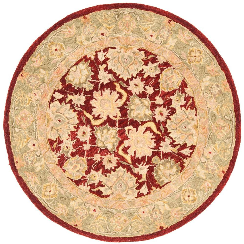 Safavieh Anatolia Red/Moss 4 ft. x 4 ft. Round Area Rug