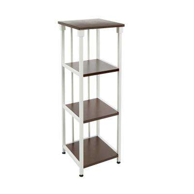 Mixed Material Bathroom 12 in. W 4-Tier Etagere in White