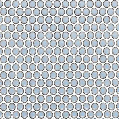 Bliss Edged Penny Round Polished Gray Ceramic Mosaic Floor and Wall Tile - 3 in. x 6 in. Tile Sample
