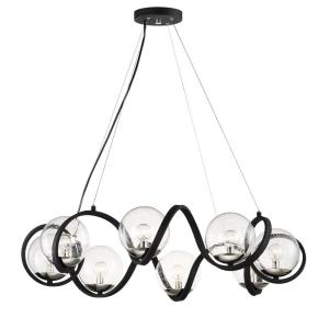 Curlicue 8-Light Black/Polished Nickel Pendant