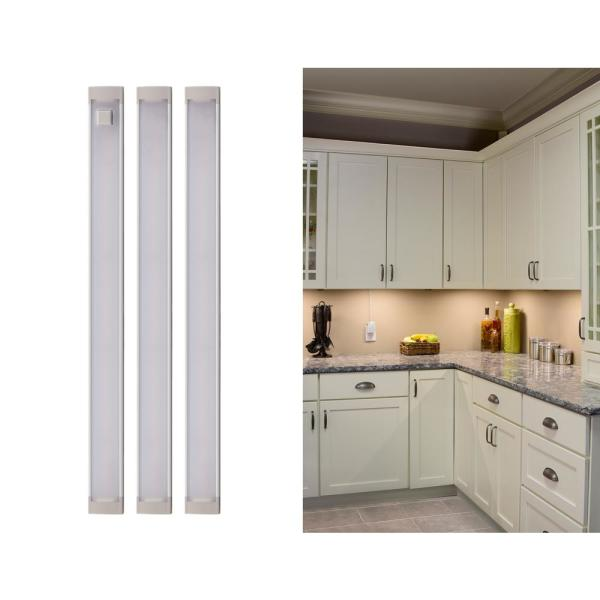 9 in. LED Warm White 2700K, Dimmable, 3-Bar Under Cabinet Lights Kit with Hands-Free On/Off (Tool-Free Plug-in Install)