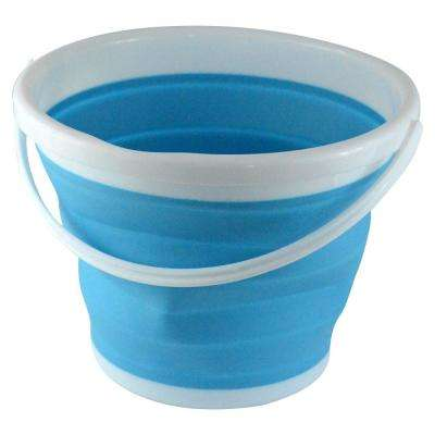 2.65 Gal. Blue Foldable Silicone Collapsible Bucket