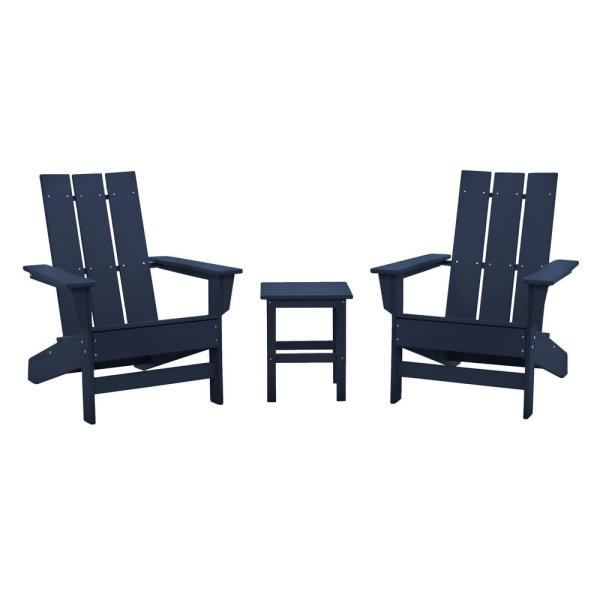 Aria Navy Recycled Plastic Modern Adirondack Chair with Side Table (2-Pack)