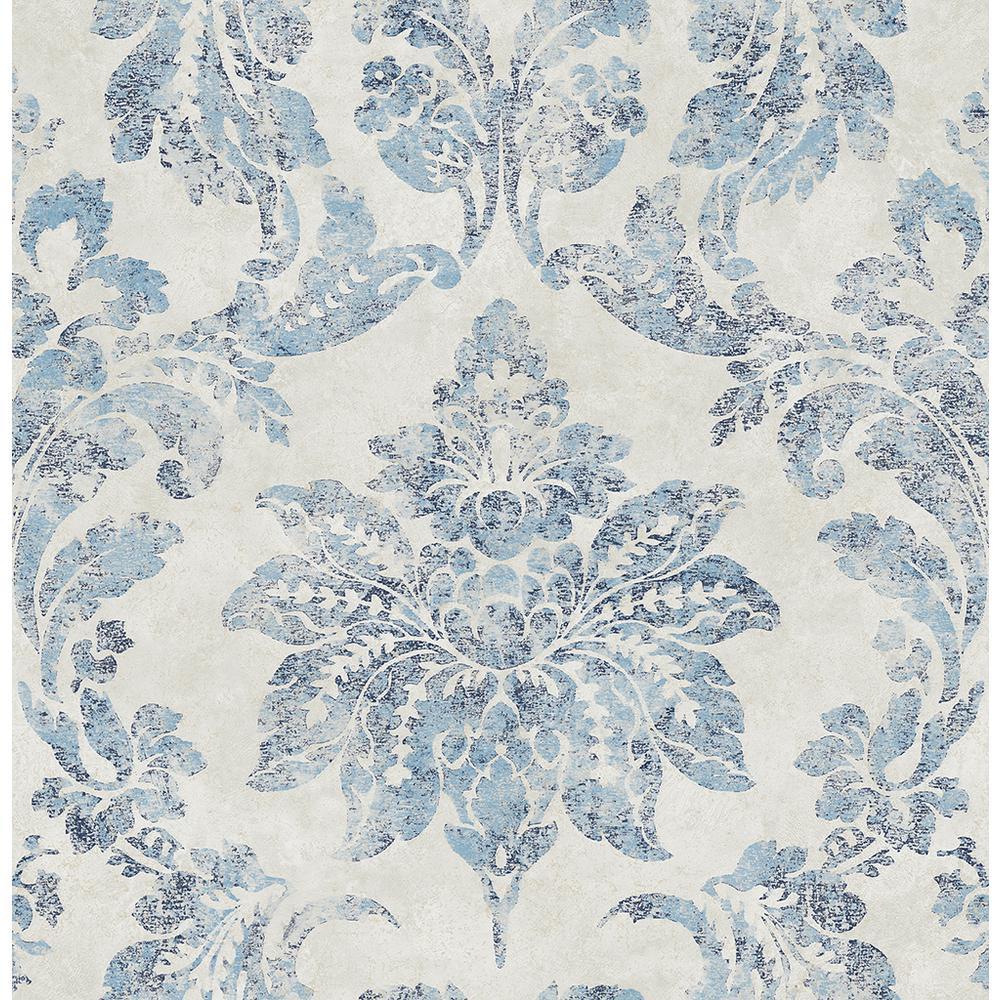 Astor Blue Damask Wallpaper