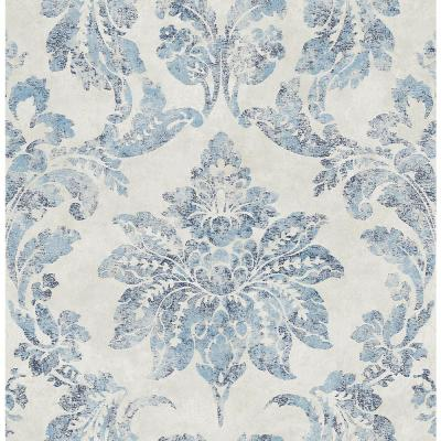 Astor Blue Damask Paper Strippable Wallpaper (Covers 56.4 sq. ft.)