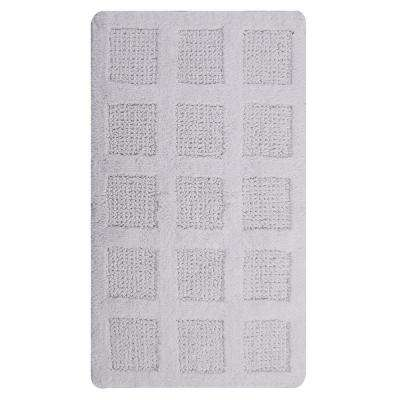 Square Honeycomb White 24 in. x 17 in. Reversible Bath Rug