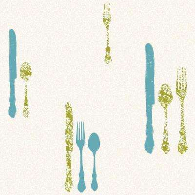 Metallic Silverware with Damask Wallpaper