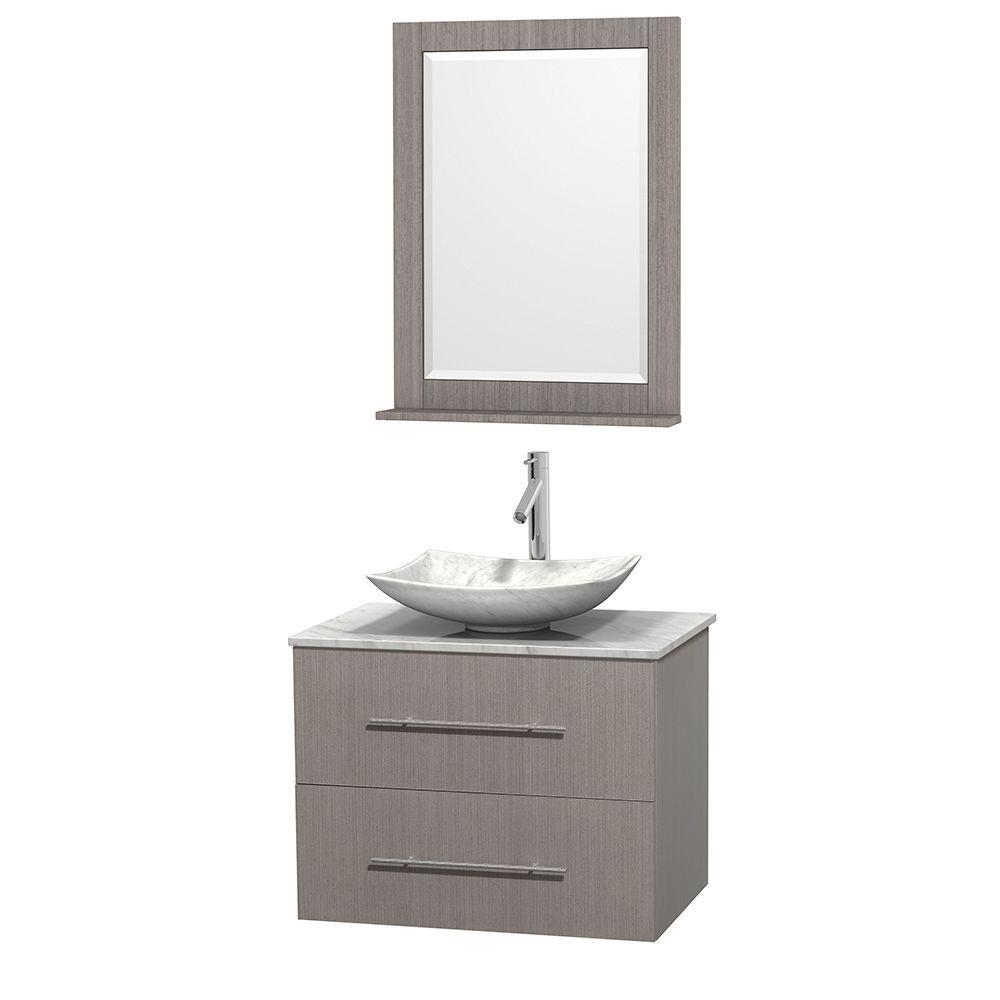 Centra 30 in. Vanity in Gray Oak with Marble Vanity Top