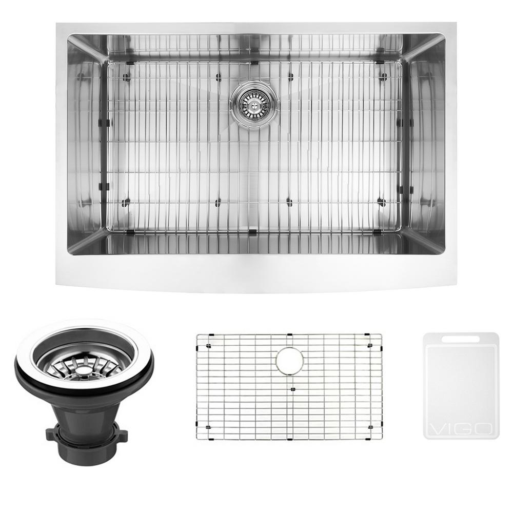 VIGO Bedford Farmhouse Stainless Steel 33 in. Single Bowl Kitchen Bar Sink with 1 Grid, 1 Strainer in Stainless Steel, Silver was $499.9 now $349.9 (30.0% off)