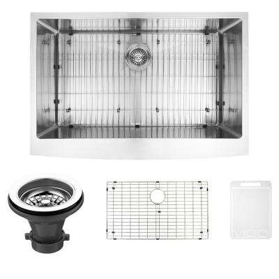 Bedford Farmhouse Stainless Steel 33 in. Single Bowl Kitchen Bar Sink with 1 Grid, 1 Strainer in Stainless Steel