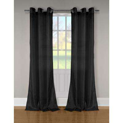 Aurora Crushed Black Taffeta Grommet Panel Pair - 52 in. W x 84 in. L in (2-Piece)
