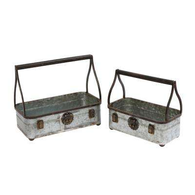 13.8 in. x 12 in. Galvanized Metal Rectangle Bucket Planters (2-Set)