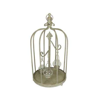 26 in. Vintage Rose Antique-Style Distressed Gray-Washed Taupe Metal Birdcage Tea Light Candle Holder