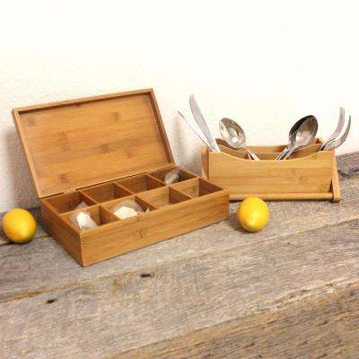 Bamboo Tea Box and Flatware Caddy Set