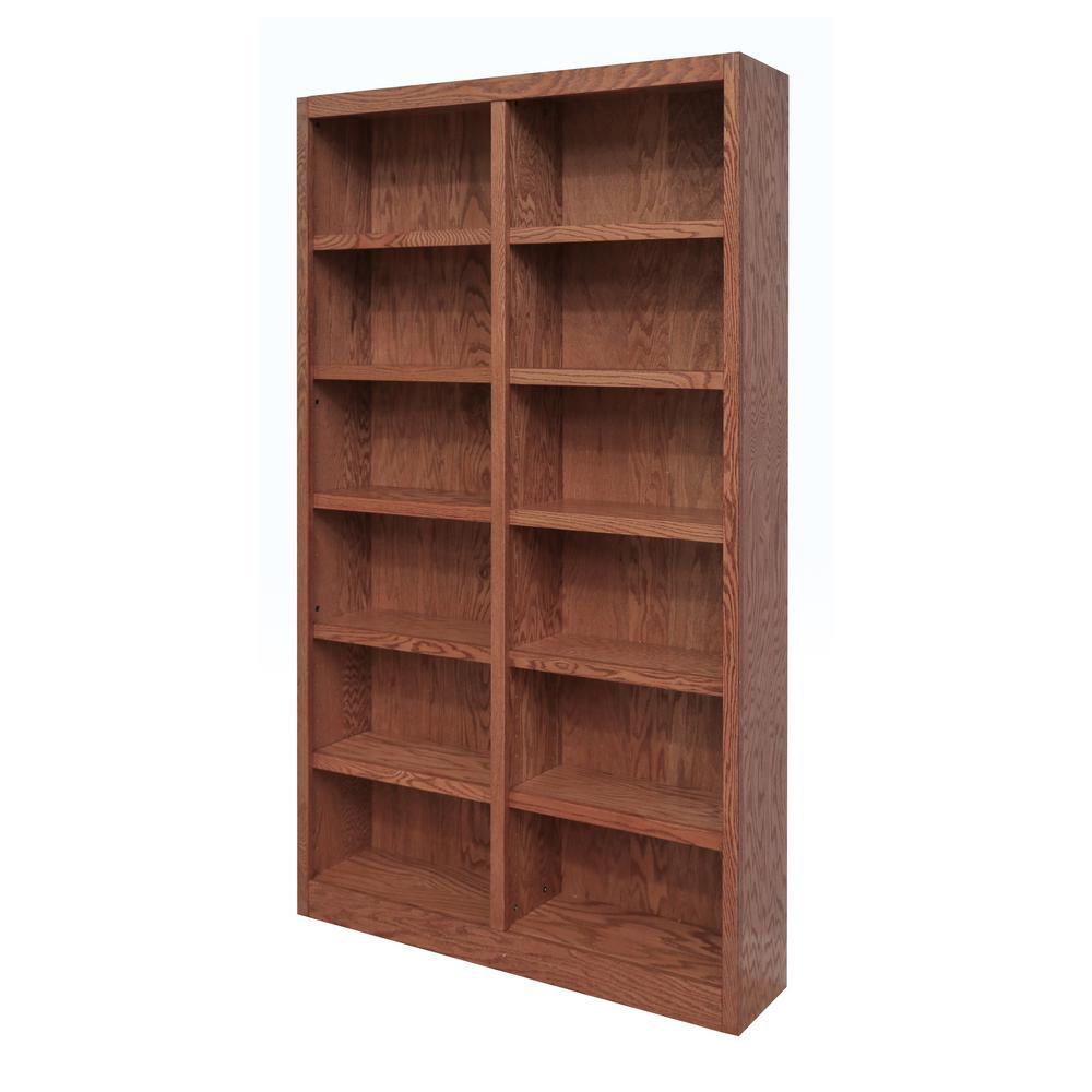 84 in. Dry Oak Wood 12-shelf Standard Bookcase with Adjustable Shelves