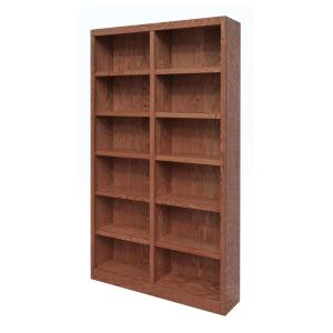 Midas Double Wide Wood Bookcase,12 Shelves, 84 in. H, Oak Finish