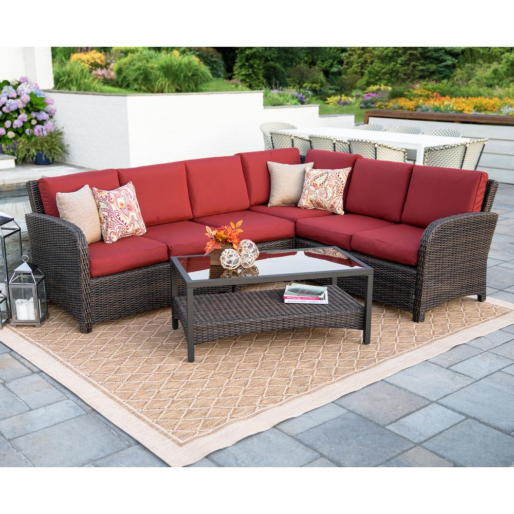 Leisure Made Jackson 5-Piece Wicker Outdoor Sectional Set ... on 5 Piece Sectional Patio Set id=11882