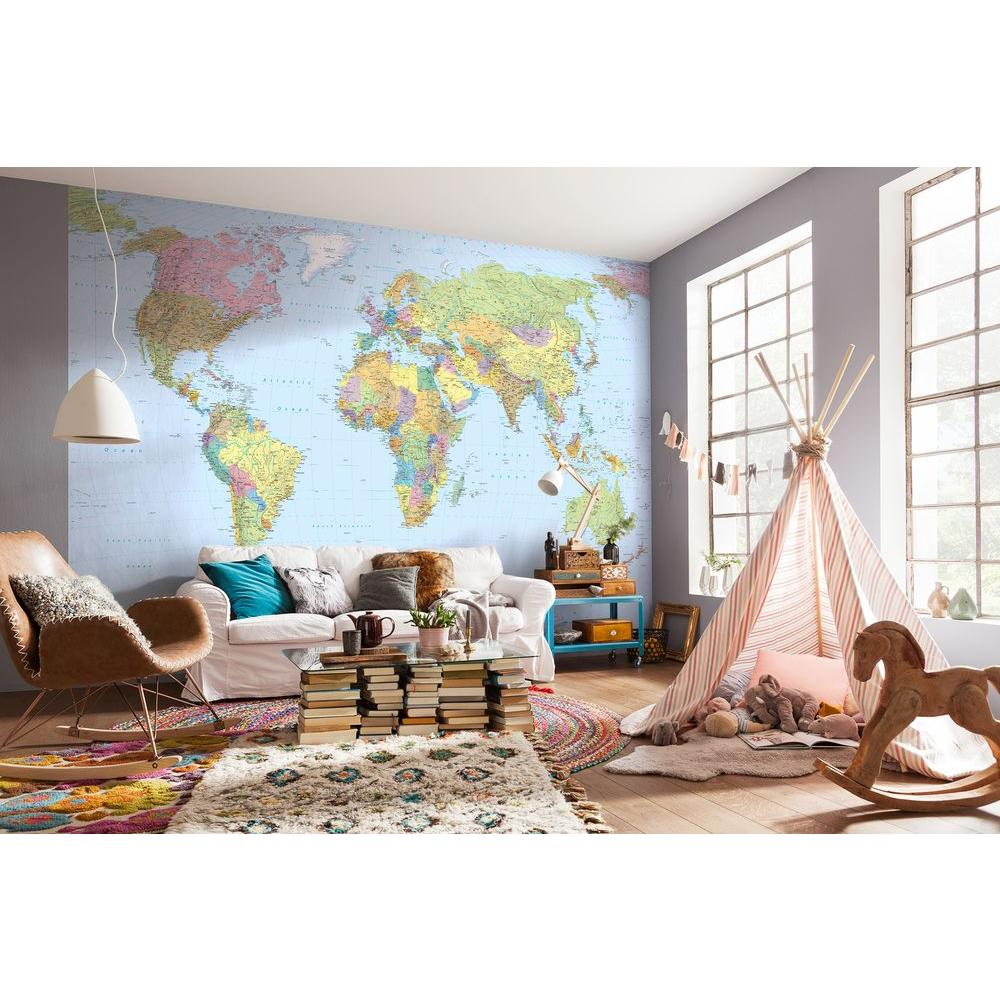 Komar 145 In H X 98 In W World Map Wall Mural XXL4 038