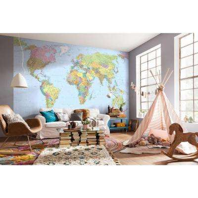 145 in. H x 98 in. W World Map Wall Mural