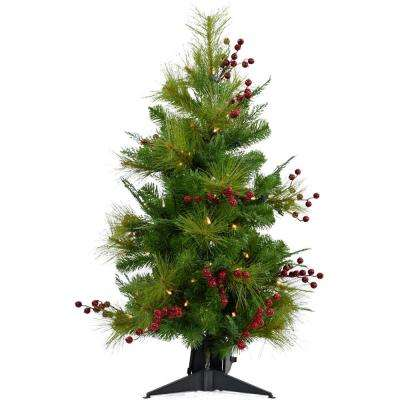 2 ft. Newberry Pine Artificial Tree with Battery-Operated LED String Lights