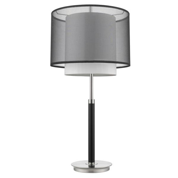 Roosevelt 31.25 in. 1-Light Espresso And Brushed Nickel Table Lamp With Smoke Gray Shantung Two Tier Shade