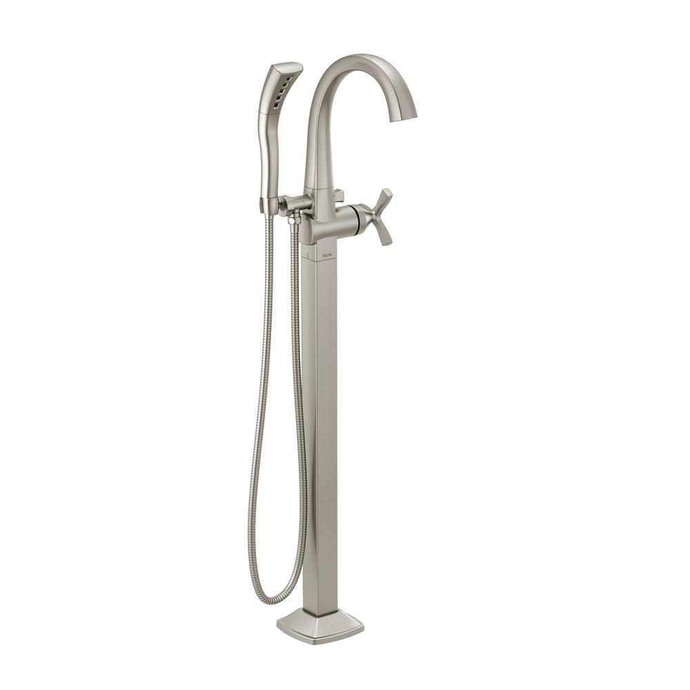 Stryke 1-Handle Floor Mount Tub Filler Trim Kit in Stainless with Hand Shower (Valve Not Included)