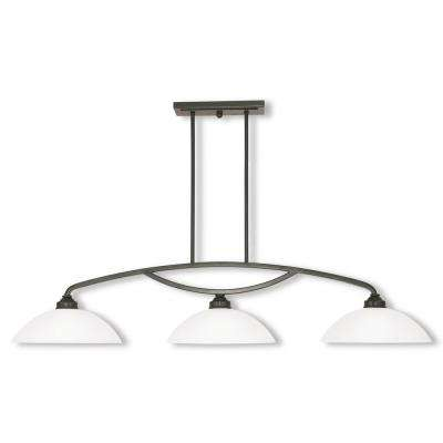 Somerset 3-Light English Bronze Linear Chandelier with Satin Glass Shade