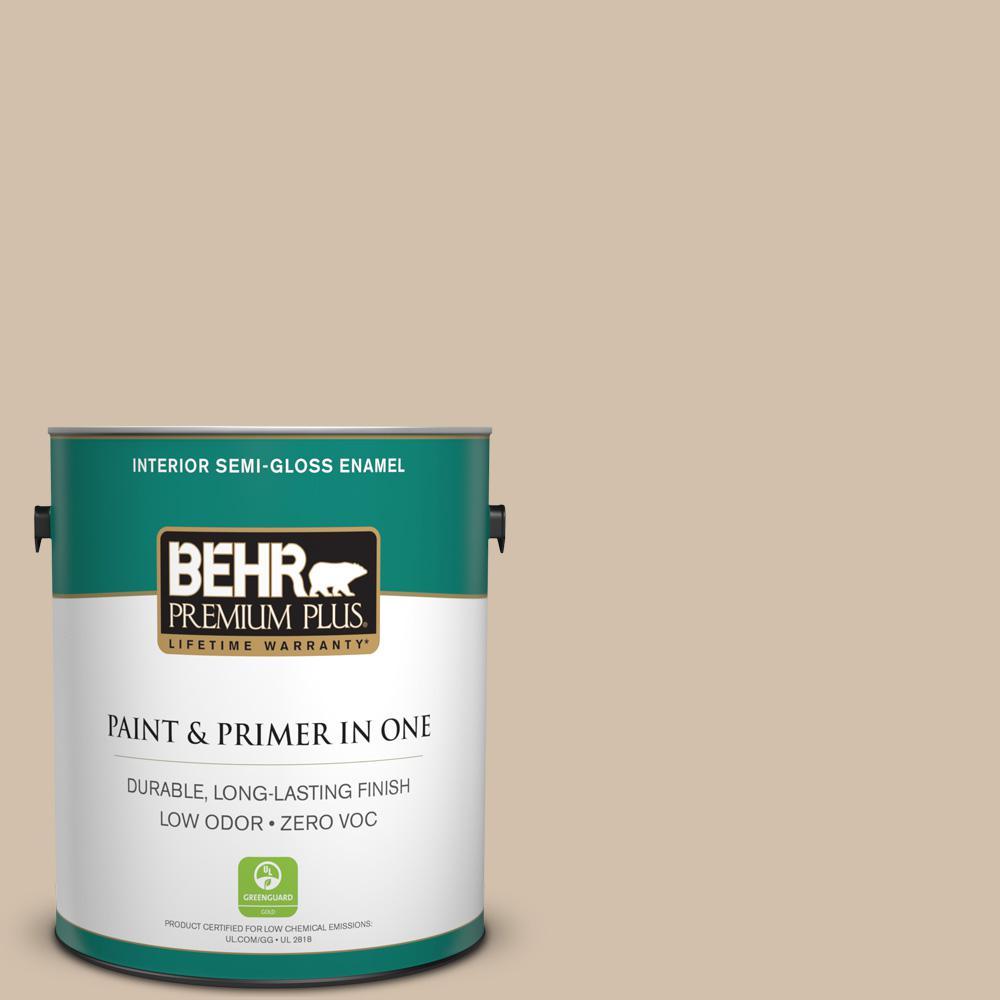 BEHR Premium Plus 1-gal. #PPF-32 Light Rattan Zero VOC Semi-Gloss Enamel Interior Paint