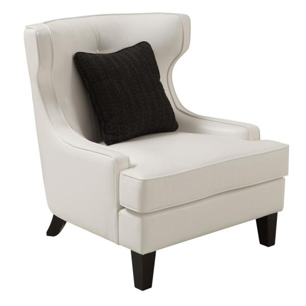 Armen Living Skyline White Bonded Leather Accent Chair LCSK1WH