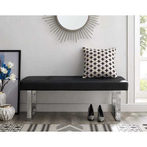 Inspired Home Alonso Black Chrome Pu Leather Bench Square Tufted Metal Leg Bh05 01bk Hd The Depot