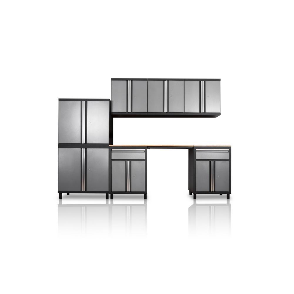 Pro Series III 81.1 in. H x 122.3 in. W x 18 in. D 23/24-Gauge Steel Wood Worktop Cabinet Set in Gray (8-Piece)