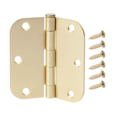 3-1/2 in. Satin Brass 5/8 in. Radius Door Hinges Value Pack (12-Pack)