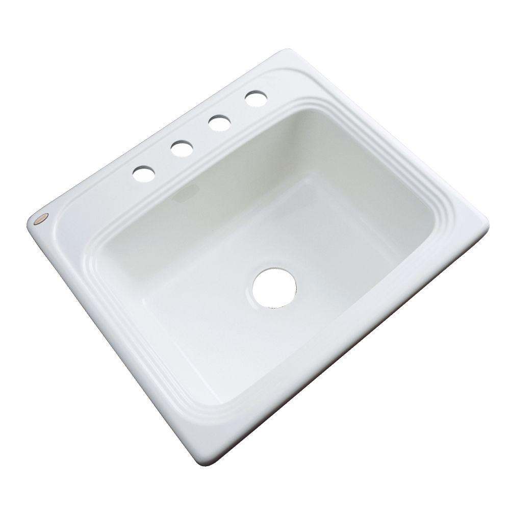 Wellington Drop-in Acrylic 25x22x9 4-Hole Single Bowl Kitchen Sink in White