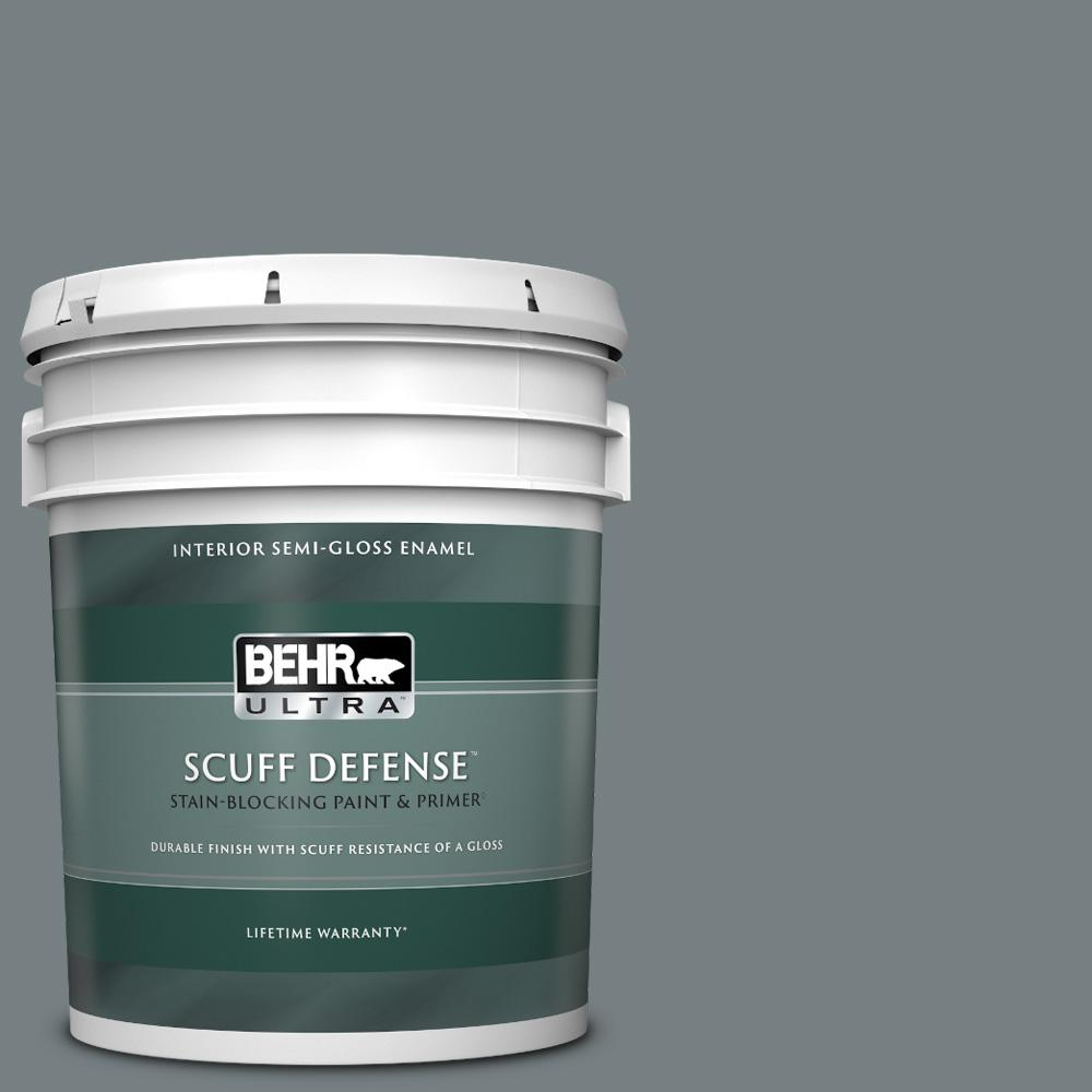 Behr Ultra 5 Gal Bnc 39 Peak Point Extra Durable Semi Gloss Enamel Interior Paint And Primer In One 375405 The Home Depot