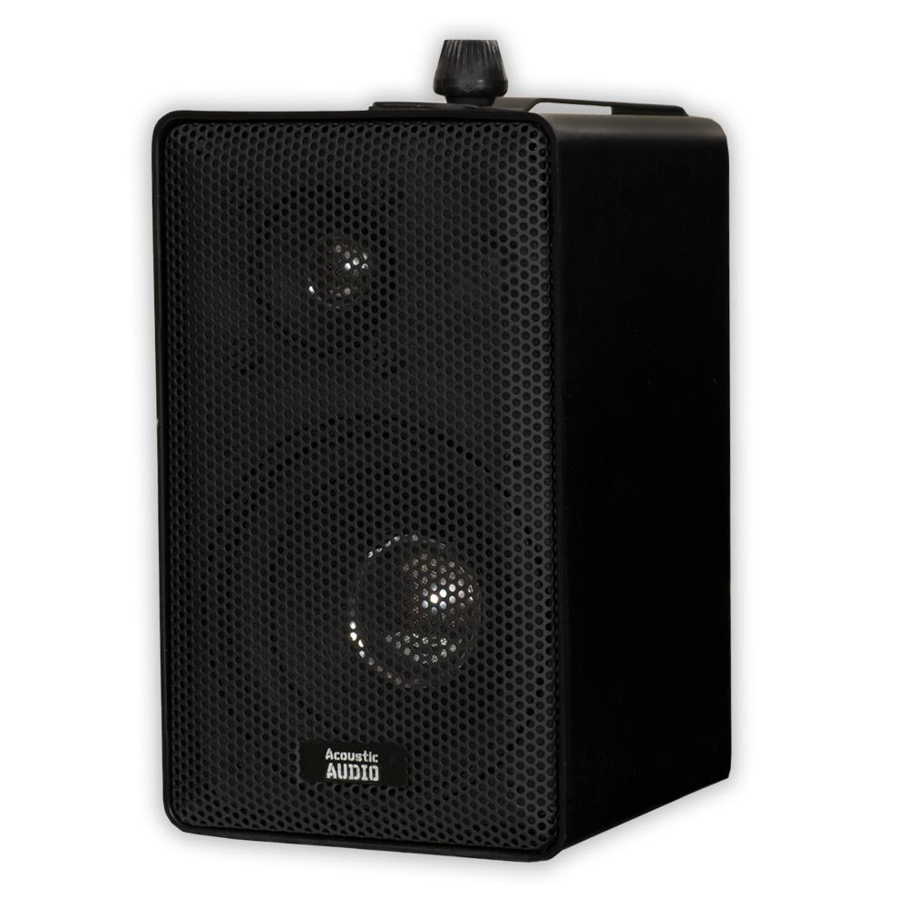 Acoustic Audio AA251B Indoor Outdoor 3 Way Speakers Black Mountable Pair