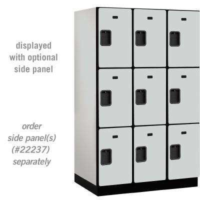 23000 Series Triple Tier 24 in. D 9 Compartments Extra Wide Designer Wood Locker in Gray