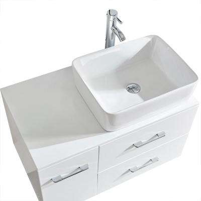 Capri 32 in. W x 19 in. D x 18 in. H Bath Vanity in White PVC with White Vitreous China Vessel and Mirror