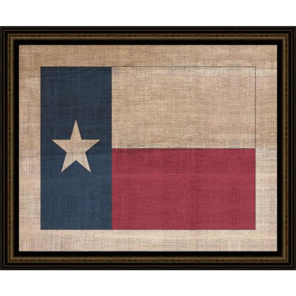 29 In X 23 In Texas State Flag On Distressed Linen Framed Giclee Print Wall Art