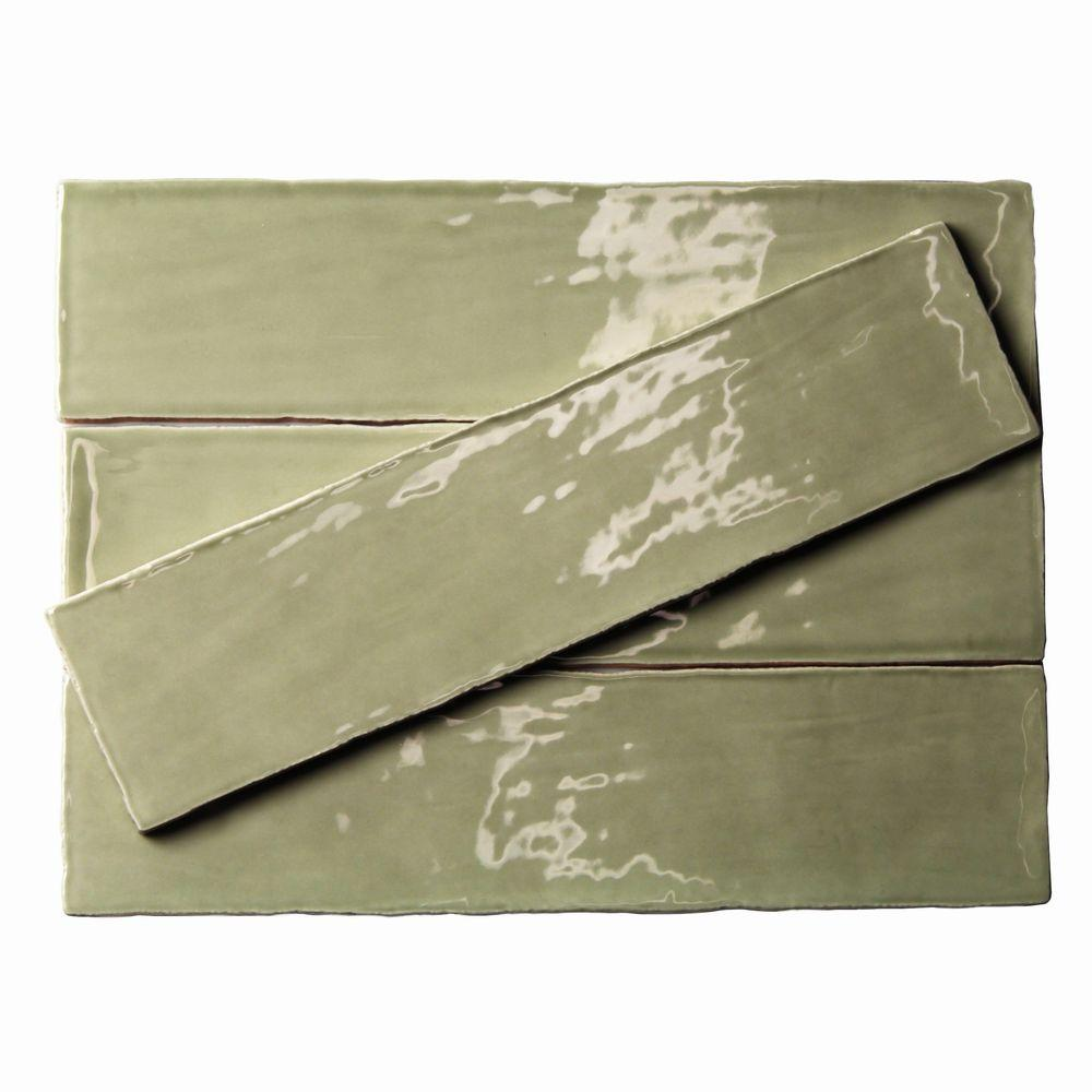 Green ceramic tile tile the home depot catalina kale 3 in x 12 in x 8 mm ceramic wall subway tile dailygadgetfo Image collections